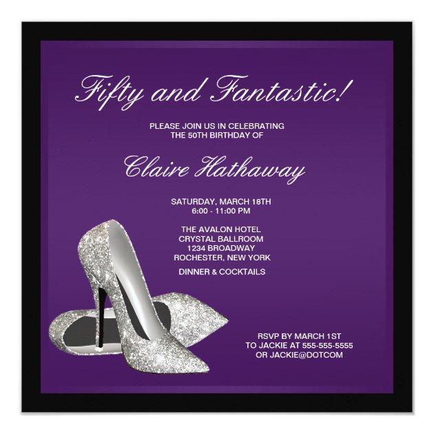 Purple Black High Heels Womans 50th Birthday 5 25 Quot Square Invitation Card Zazzle