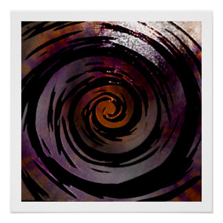 Purple & Black Hypnotic Swirl Art Perfect Poster