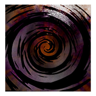 Purple & Black Hypnotic Swirl Art Poster