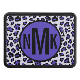 Purple Black Leopard Animal Print with Monogram Trailer Hitch Cover