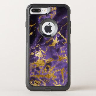 Purple Black Marble Faux Gold Glitter Pattern OtterBox Commuter iPhone 8 Plus/7 Plus Case