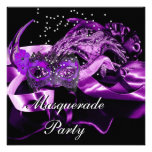 Purple Black Masks Masquerade Ball Party Invitation