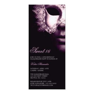 "Purple Black Masquerade Sweet 16 Birthday Invites 4"" X 9.25"" Invitation Card"