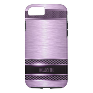 Purple & Black Metallic Brushed Aluminum Look iPhone 8/7 Case