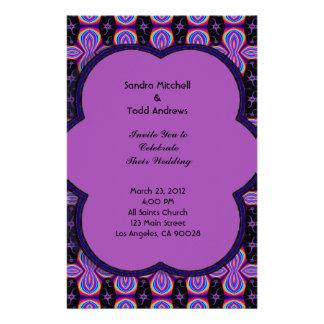 Purple black mod wedding customized stationery