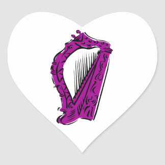 purple black ornate harp music design.png heart sticker
