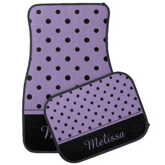Purple Black Polka Dots Monogram Set of 4 Car Mat