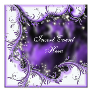 "Purple black quinceanera ""sweet 16"" party card"