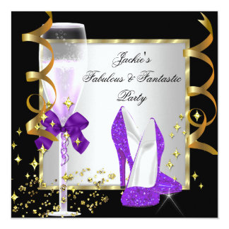 "Purple Black Silver Women's Birthday Party 5.25"" Square Invitation Card"