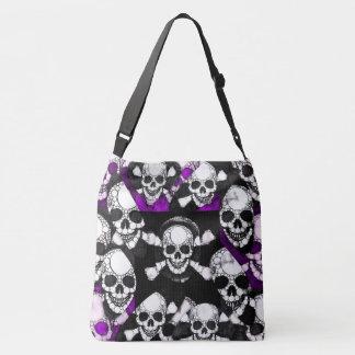 Purple Black Skull Metal Crossbody Bag