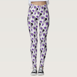 Purple Black Soccer Ball Pattern Leggings