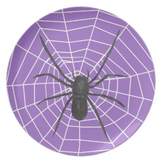 Purple/Black Spider Halloween Party Plate