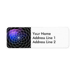 Purple & Black Spiral Design Return Address Label