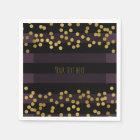 Purple & Black Stripes Gold Faux Foil Dots Napkin