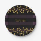 Purple & Black Stripes Gold Faux Foil Dots Paper Plate