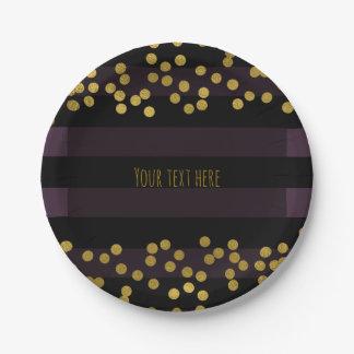 Purple & Black Stripes Gold Faux Foil Dots Paper Plate