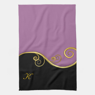 Purple-black Swirl with Initial Kitchen Towels