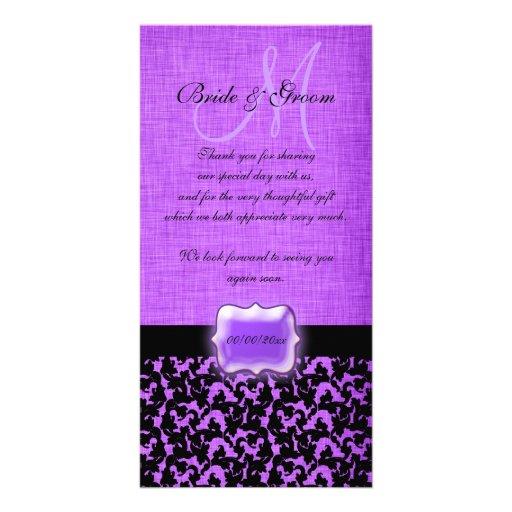 "Purple black ""thank you"" wedding damask photo card template"