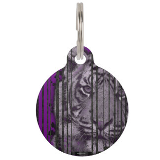 Purple Black Tiger Pet ID Tag