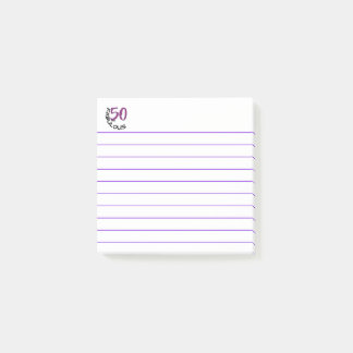 """Purple & Black Typography """"50 and Fabulous"""" Post-it Notes"""