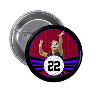 Purple & Black Volleyball Photo and Jersey Number 2 Inch Round Button