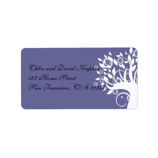 Purple Black Wedding Address Label Tree