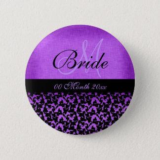 Purple black wedding bride floral damask 2 inch round button