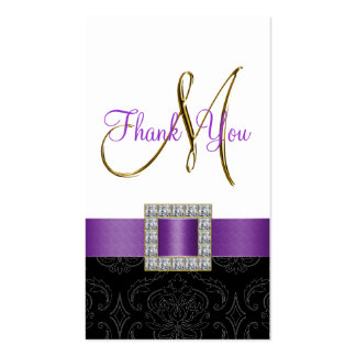 Purple, Black White Damask Gold Wedding Thank You Business Card