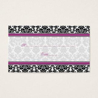 Purple, Black, White Damask Wedding Place Cards