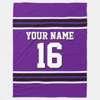 Purple Black White Sports Jersey Team Jersey Fleece Blanket