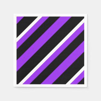 Purple black white striped pattern paper napkin