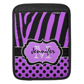 Purple, Black, White Zebra Stripes and Polka Dots iPad Sleeve