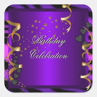 Purple black Zebra Birthday Party Celebration Square Sticker
