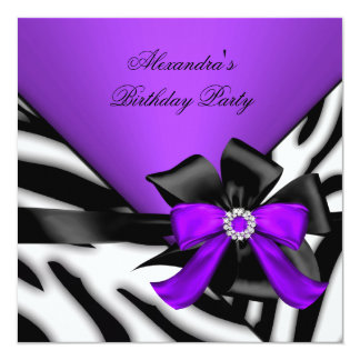 Purple Black Zebra Stripe Bow Birthday Party Card