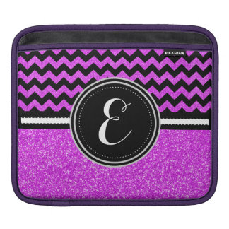 Purple Bling Glitter and Chevron Personalized Case iPad Sleeve