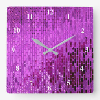 Purple Block Shimmer Pattern Clock