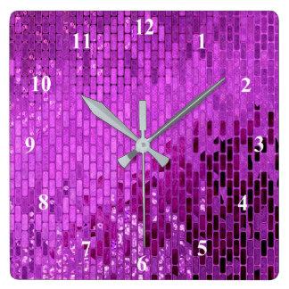 Purple Block Shimmer Pattern Square Wall Clock