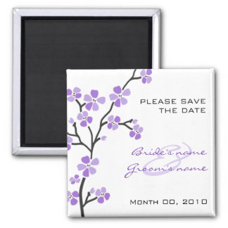 Purple Blossom Save the Date magnets