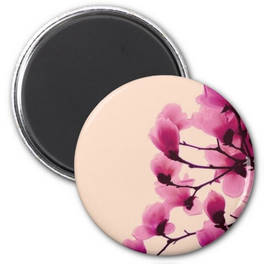 Purple Blossoms 2 Inch Round Magnet