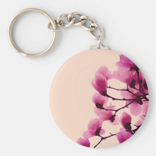 Purple Blossoms Basic Round Button Keychain