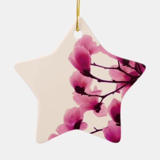 Purple Blossoms Ceramic Star Ornament