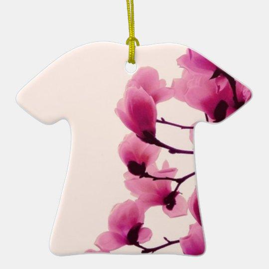 Purple Blossoms Ceramic T-Shirt Ornament