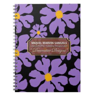 Purple Blossoms Designer Modern Notebook