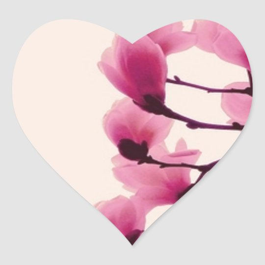 Purple Blossoms Heart Sticker