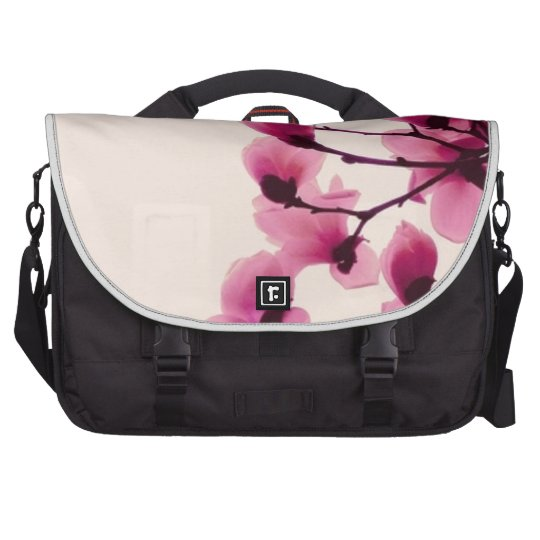 Purple Blossoms Laptop Messenger Bag
