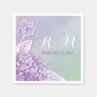 Purple Blossoms Monogrammed Wedding Paper Napkins