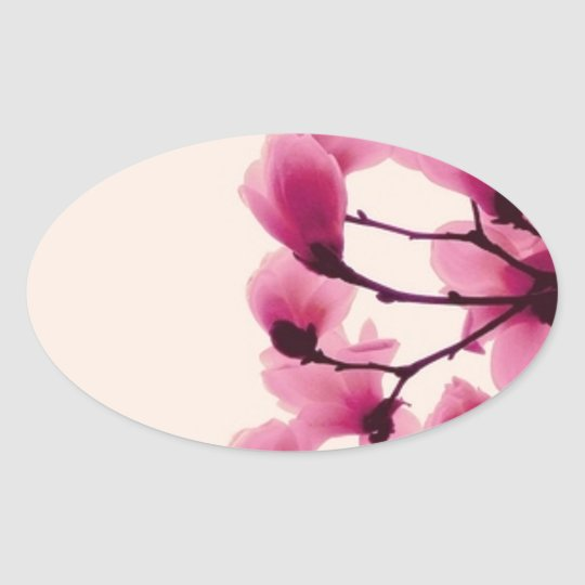 Purple Blossoms Oval Sticker