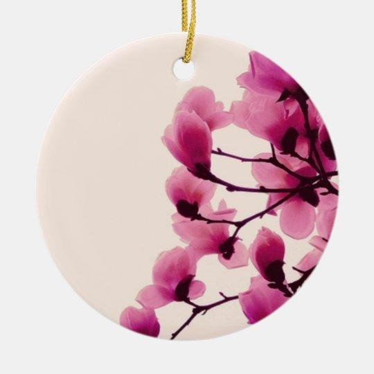 Purple Blossoms Round Ceramic Ornament