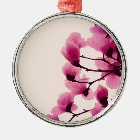 Purple Blossoms Silver-Colored Round Ornament