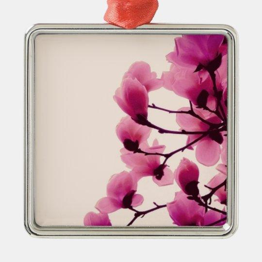 Purple Blossoms Silver-Colored Square Ornament